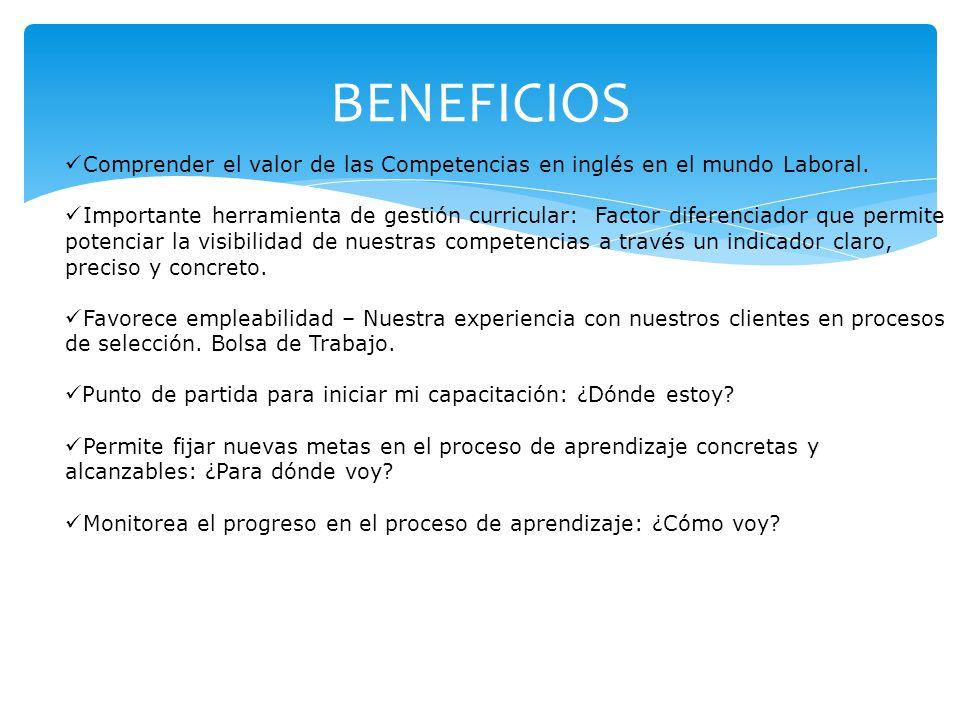 BENEFICIOS Comprender el valor de las Competencias en inglés en el mundo Laboral. Importante herramienta de gestión curricular: Factor diferenciador q
