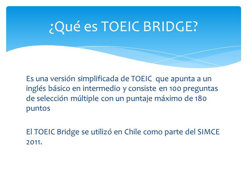 Es una versión simplificada de TOEIC que apunta a un inglés básico en intermedio y consiste en 100 preguntas de selección múltiple con un puntaje máxi