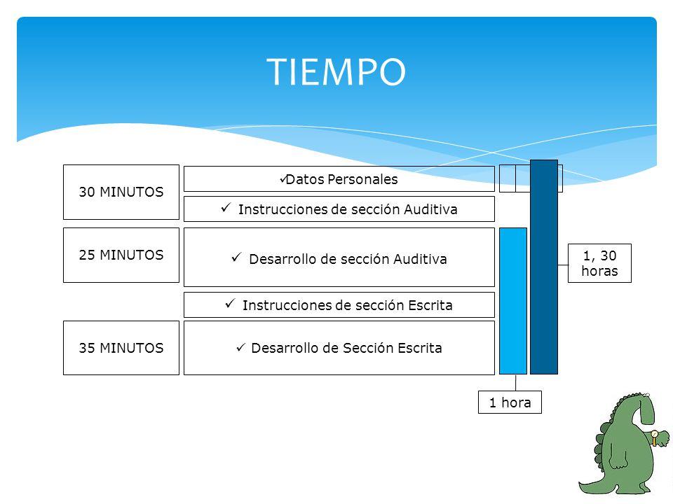 TIEMPO Datos Personales Desarrollo de sección Auditiva Desarrollo de Sección Escrita Instrucciones de sección Escrita Instrucciones de sección Auditiv