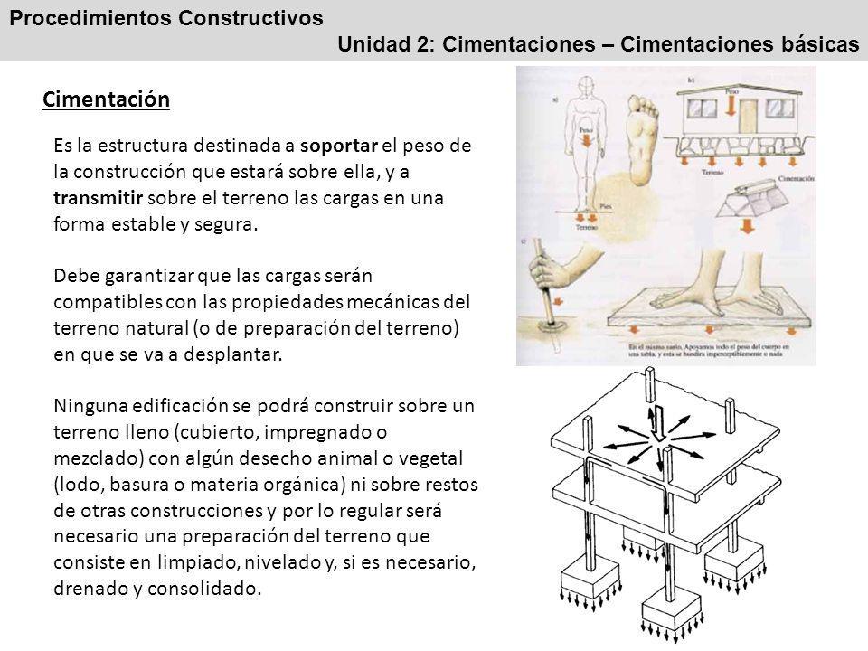Procedimientos Constructivos Unidad 2: Cimentaciones – Cimentaciones básicas Cimentación Es la estructura destinada a soportar el peso de la construcción que estará sobre ella, y a transmitir sobre el terreno las cargas en una forma estable y segura.