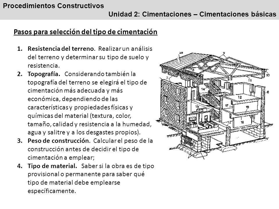 Procedimientos Constructivos Unidad 2: Cimentaciones – Cimentaciones básicas Pasos para selección del tipo de cimentación 1.Resistencia del terreno.