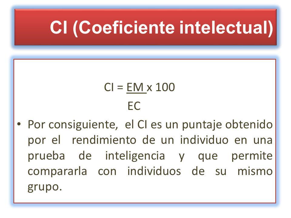 CI (Coeficiente intelectual) CI = EM x 100 EC Por consiguiente, el CI es un puntaje obtenido por el rendimiento de un individuo en una prueba de intel