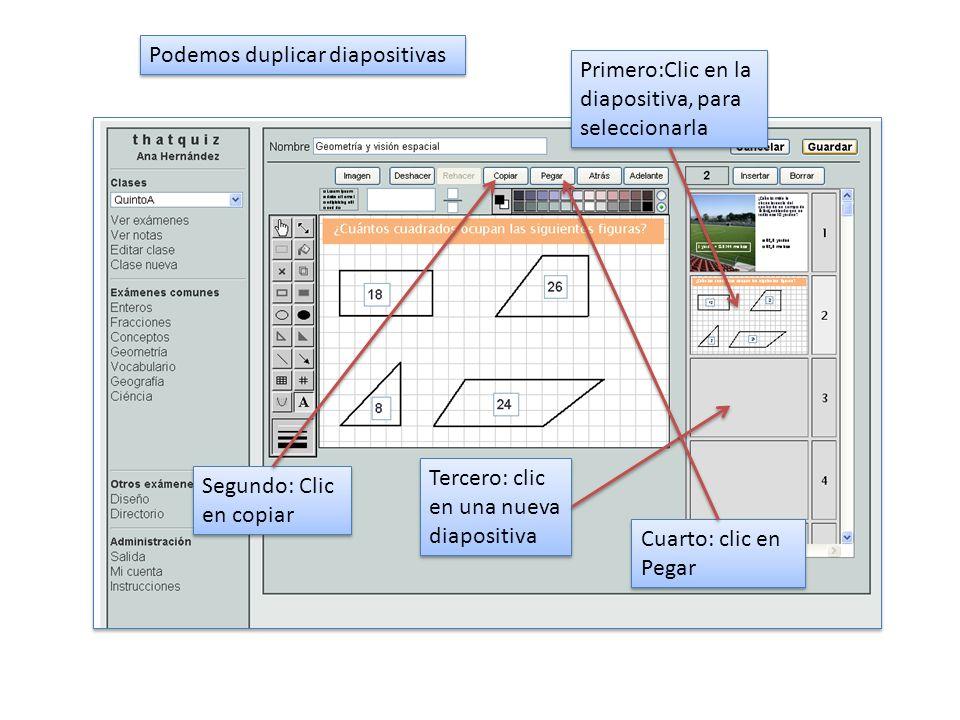 Podemos duplicar diapositivas Primero:Clic en la diapositiva, para seleccionarla Segundo: Clic en copiar Tercero: clic en una nueva diapositiva Cuarto: clic en Pegar