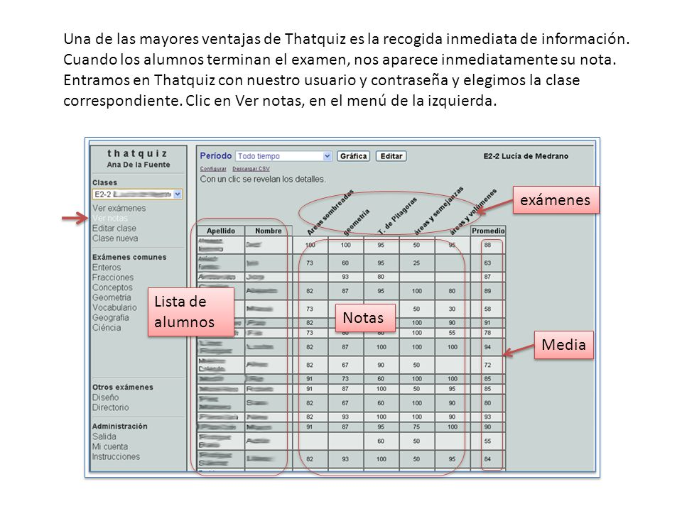 Una de las mayores ventajas de Thatquiz es la recogida inmediata de información.