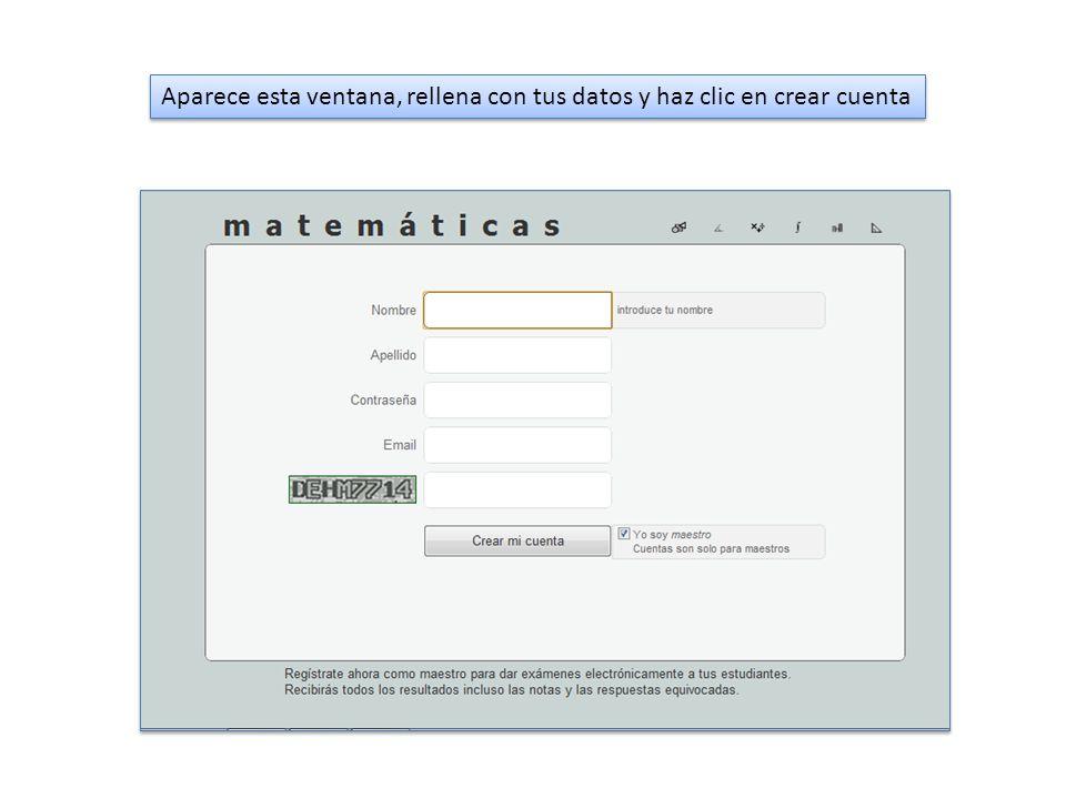 Aparece esta ventana, rellena con tus datos y haz clic en crear cuenta