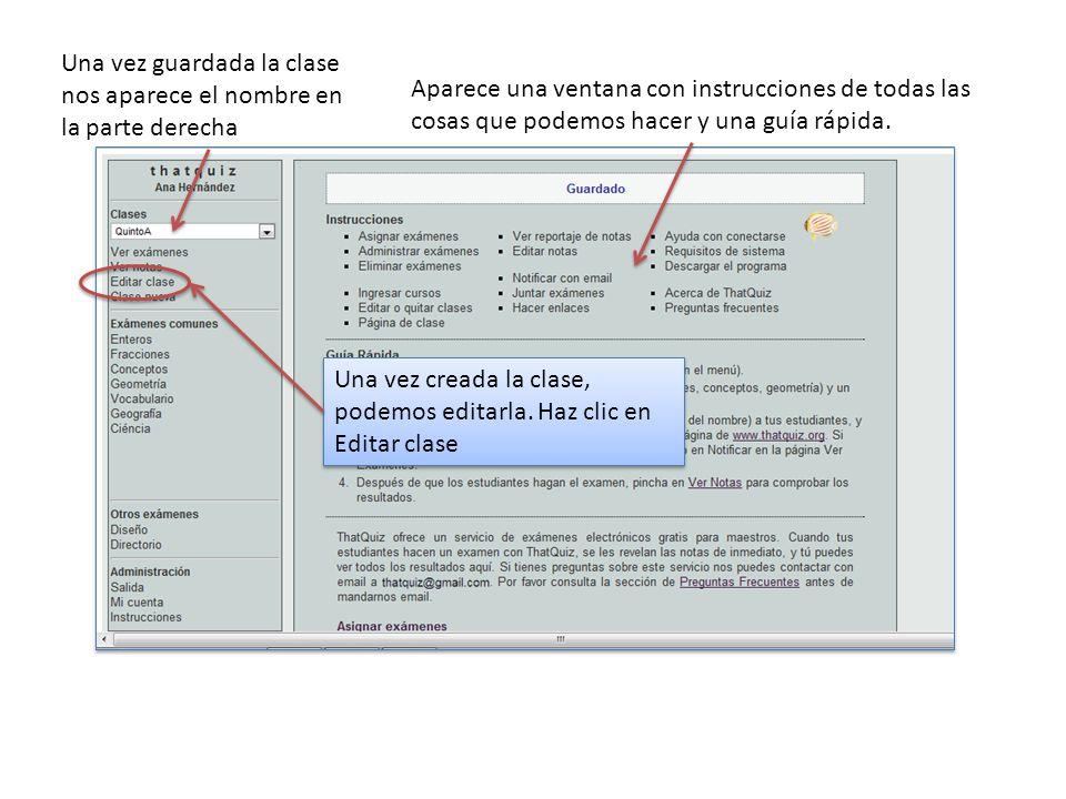 Este es el enlace (URL) de la página de clase, donde los alumnos pueden entrar para ver sus asignaciones ( exámenes o pruebas) Es conveniente utilizar contraseñas para que cada alumno utilice la suya.