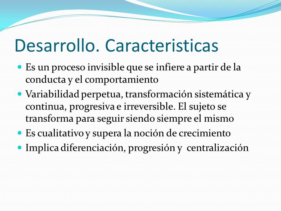 Desarrollo. Caracteristicas Es un proceso invisible que se infiere a partir de la conducta y el comportamiento Variabilidad perpetua, transformación s