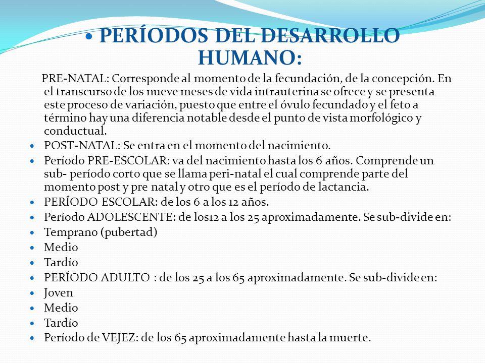 PERÍODOS DEL DESARROLLO HUMANO: PRE-NATAL: Corresponde al momento de la fecundación, de la concepción. En el transcurso de los nueve meses de vida int