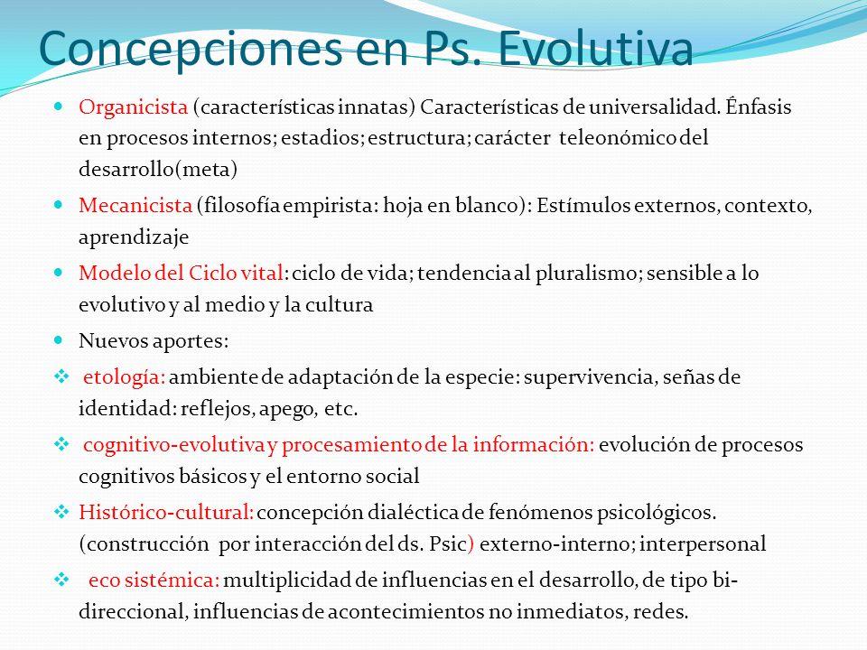 Concepciones en Ps. Evolutiva Organicista (características innatas) Características de universalidad. Énfasis en procesos internos; estadios; estructu