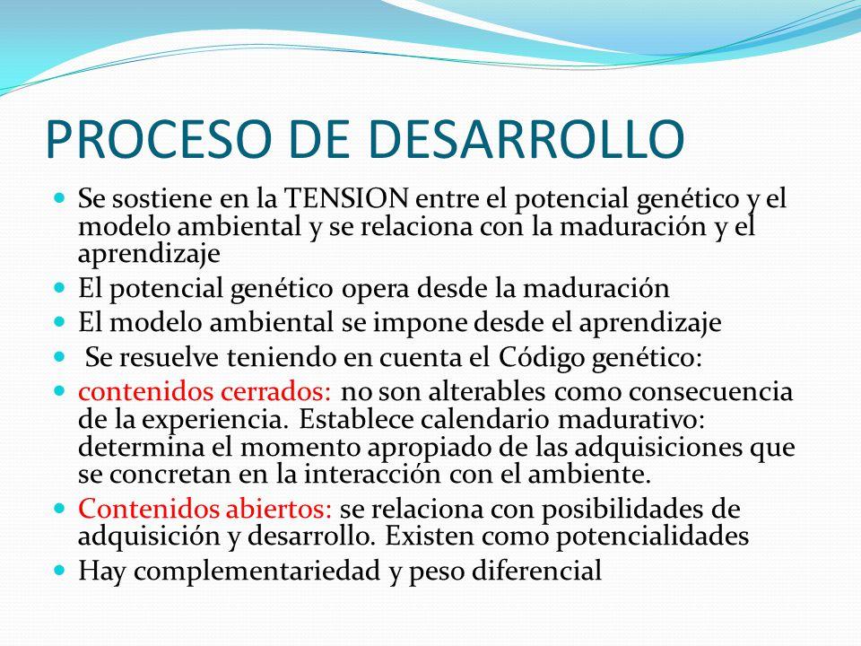 PROCESO DE DESARROLLO Se sostiene en la TENSION entre el potencial genético y el modelo ambiental y se relaciona con la maduración y el aprendizaje El