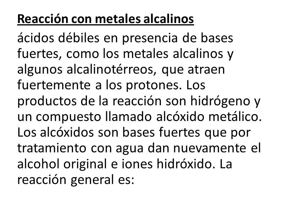 Reacción con metales alcalinos ácidos débiles en presencia de bases fuertes, como los metales alcalinos y algunos alcalinotérreos, que atraen fuertemente a los protones.