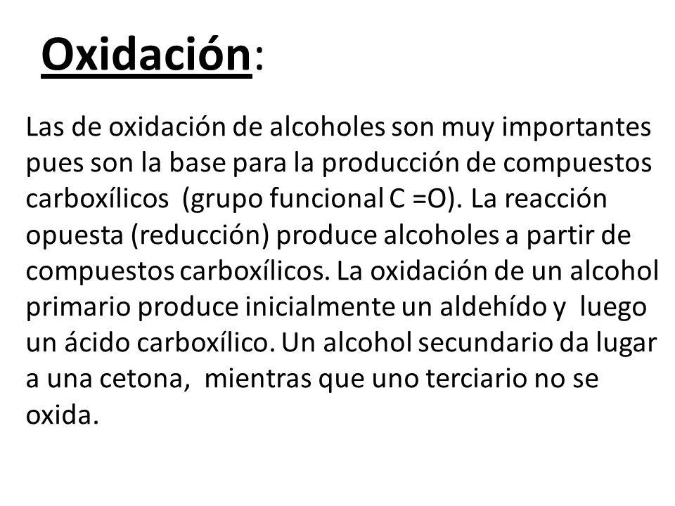 Oxidación: Las de oxidación de alcoholes son muy importantes pues son la base para la producción de compuestos carboxílicos (grupo funcional C =O).