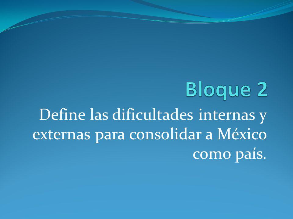 Define las dificultades internas y externas para consolidar a México como país.