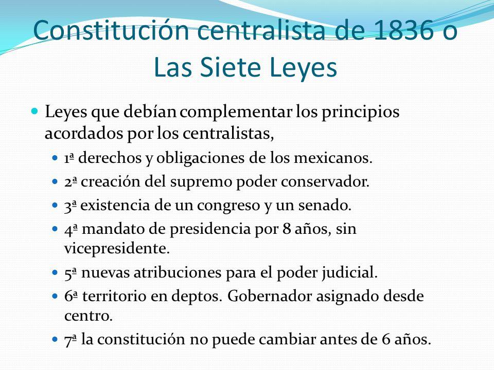 Constitución centralista de 1836 o Las Siete Leyes Leyes que debían complementar los principios acordados por los centralistas, 1ª derechos y obligaci