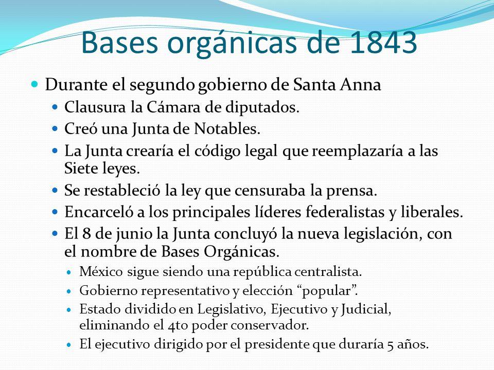 Bases orgánicas de 1843 Durante el segundo gobierno de Santa Anna Clausura la Cámara de diputados. Creó una Junta de Notables. La Junta crearía el cód