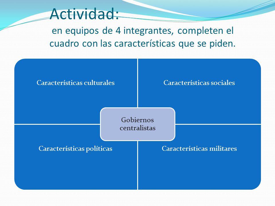 Actividad: en equipos de 4 integrantes, completen el cuadro con las características que se piden. Características culturalesCaracterísticas sociales C
