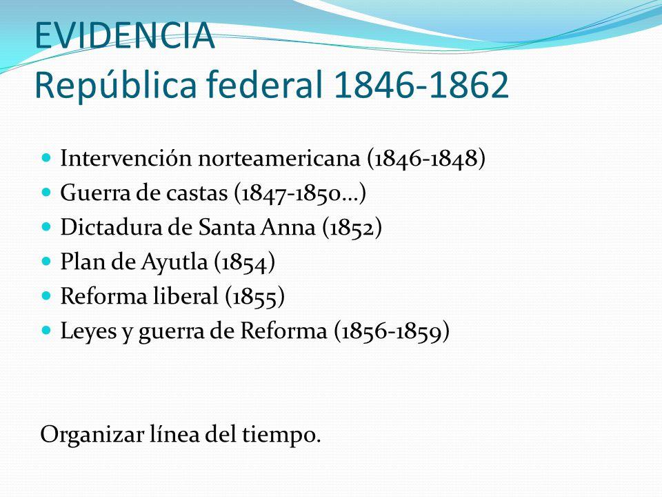 EVIDENCIA República federal 1846-1862 Intervención norteamericana (1846-1848) Guerra de castas (1847-1850…) Dictadura de Santa Anna (1852) Plan de Ayu