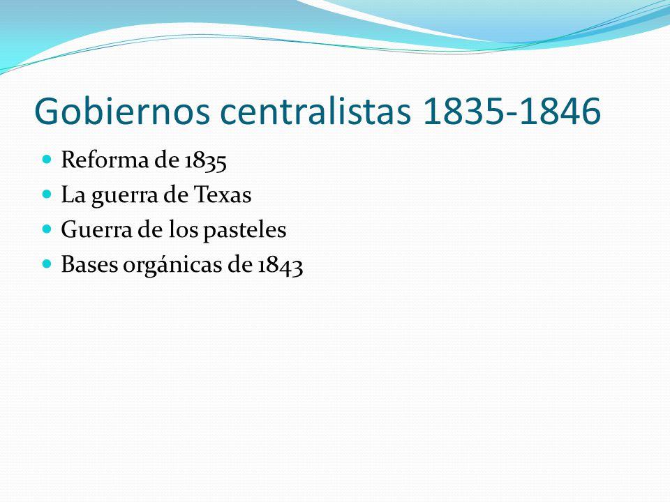 Gobiernos centralistas 1835-1846 Reforma de 1835 La guerra de Texas Guerra de los pasteles Bases orgánicas de 1843
