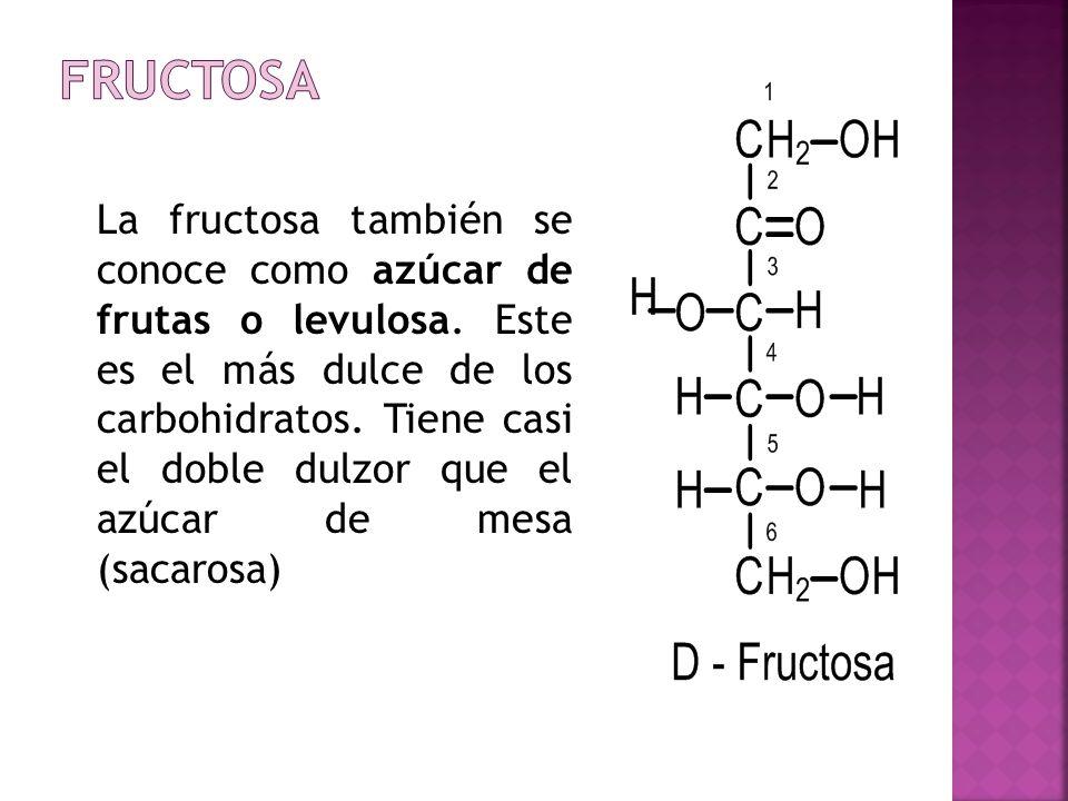 La fructosa también se conoce como azúcar de frutas o levulosa. Este es el más dulce de los carbohidratos. Tiene casi el doble dulzor que el azúcar de