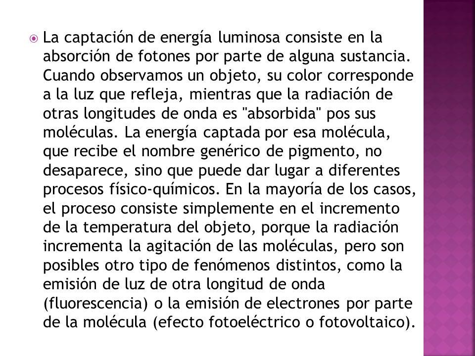 La captación de energía luminosa consiste en la absorción de fotones por parte de alguna sustancia. Cuando observamos un objeto, su color corresponde