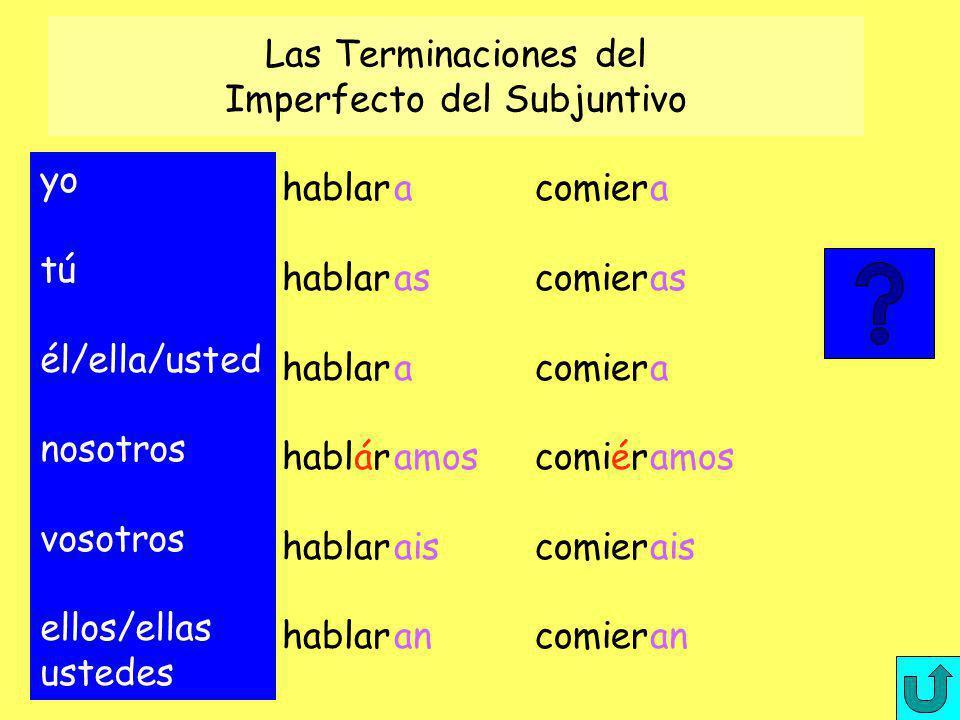 Las Terminaciones del Imperfecto del Subjuntivo yo tú él/ella/usted nosotros vosotros ellos/ellas ustedes hablar hablár hablar a as a amos ais an comi