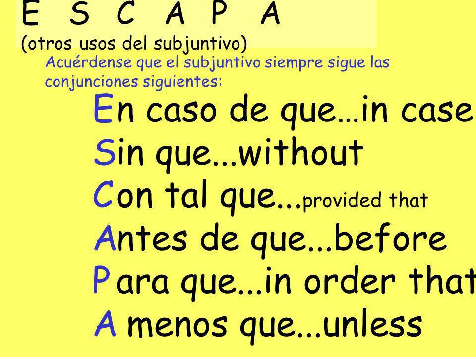 Acuérdense que el subjuntivo siempre sigue las conjunciones siguientes: ESCAPA (otros usos del subjuntivo) ESCAPAESCAPA n caso de que…in case in que..