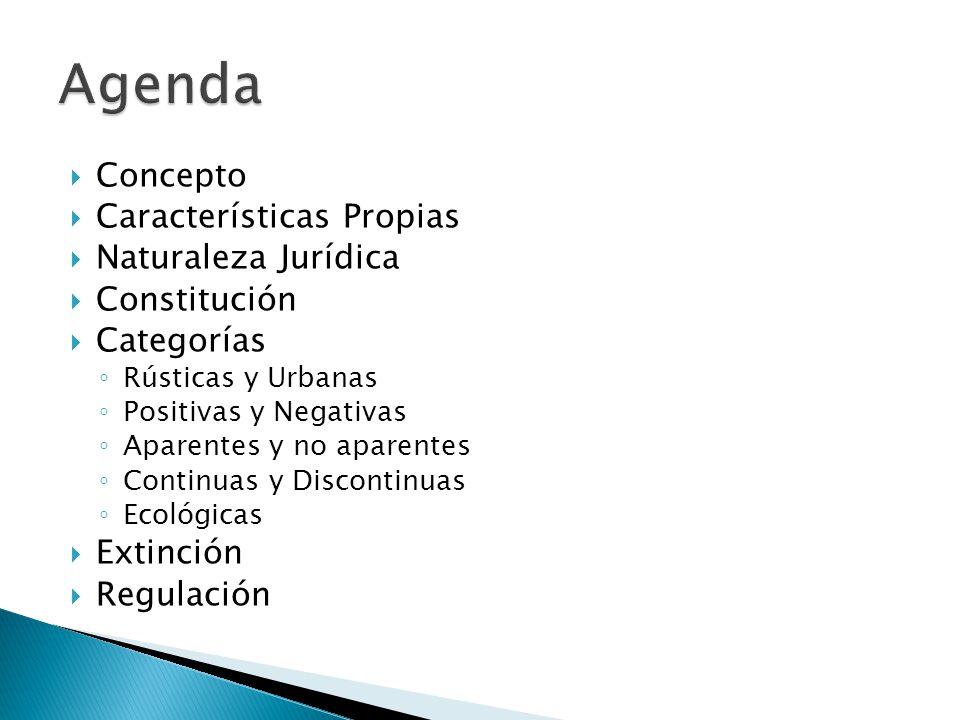 Concepto Características Propias Naturaleza Jurídica Constitución Categorías Rústicas y Urbanas Positivas y Negativas Aparentes y no aparentes Continu