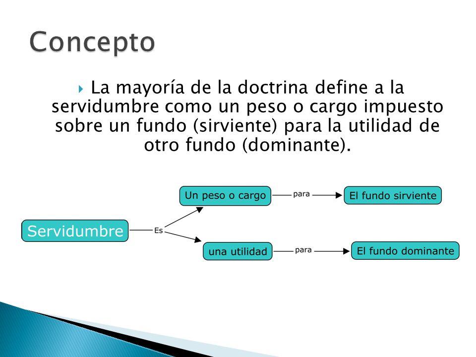 La mayoría de la doctrina define a la servidumbre como un peso o cargo impuesto sobre un fundo (sirviente) para la utilidad de otro fundo (dominante).