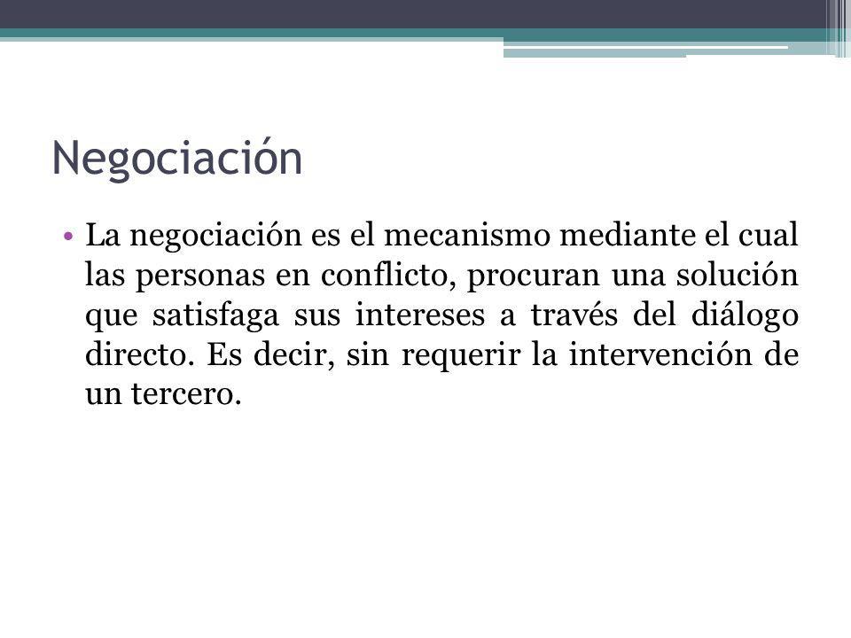 Mediación Es el mecanismo mediante el cual un tercero llamado Mediador ayuda a las partes de la disputa, a dialogar sobre sus intereses y encontrar una solución entre ambos.
