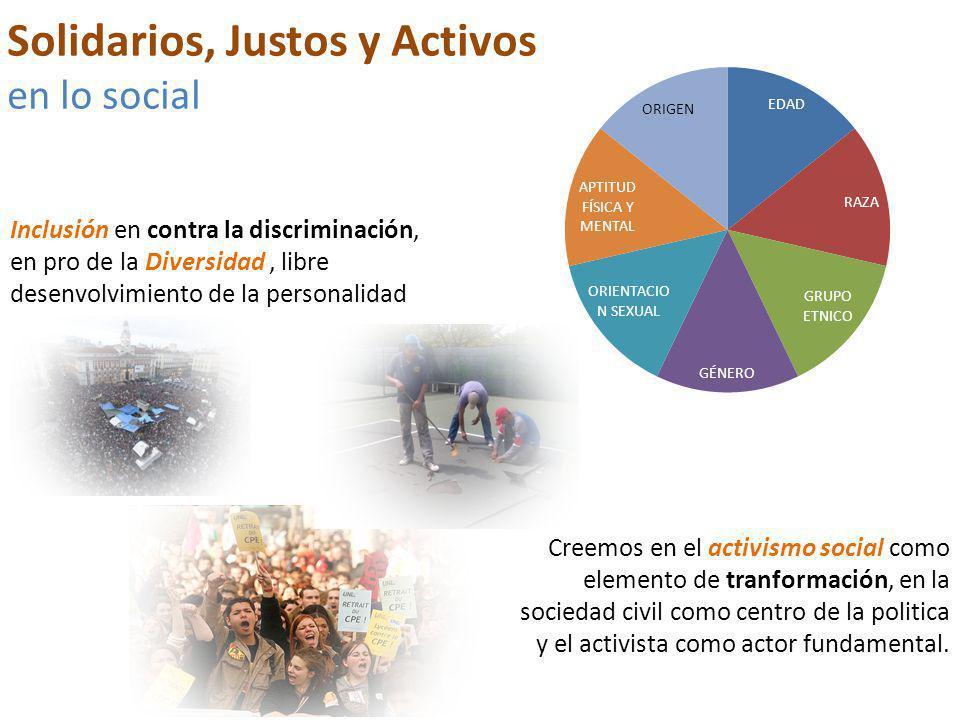 Inclusión en contra la discriminación, en pro de la Diversidad, libre desenvolvimiento de la personalidad Solidarios, Justos y Activos en lo social Creemos en el activismo social como elemento de tranformación, en la sociedad civil como centro de la politica y el activista como actor fundamental.