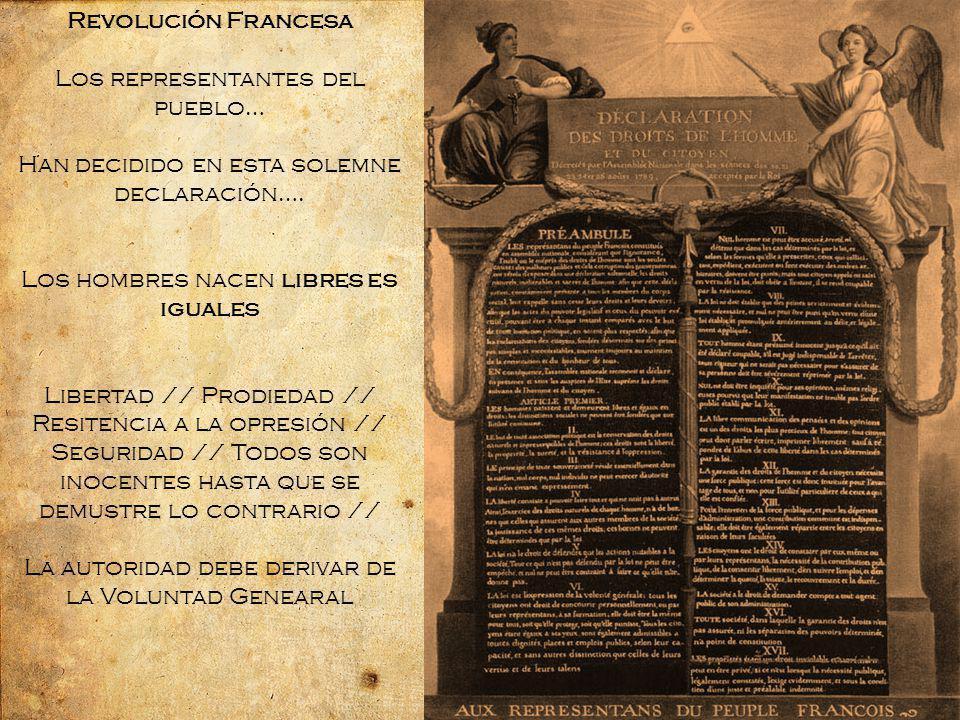 Revolución Francesa Los representantes del pueblo… Han decidido en esta solemne declaración….