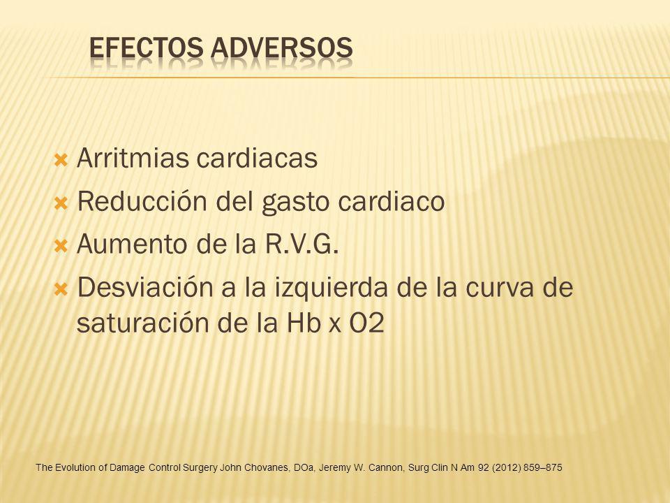 Arritmias cardiacas Reducción del gasto cardiaco Aumento de la R.V.G. Desviación a la izquierda de la curva de saturación de la Hb x O2 The Evolution