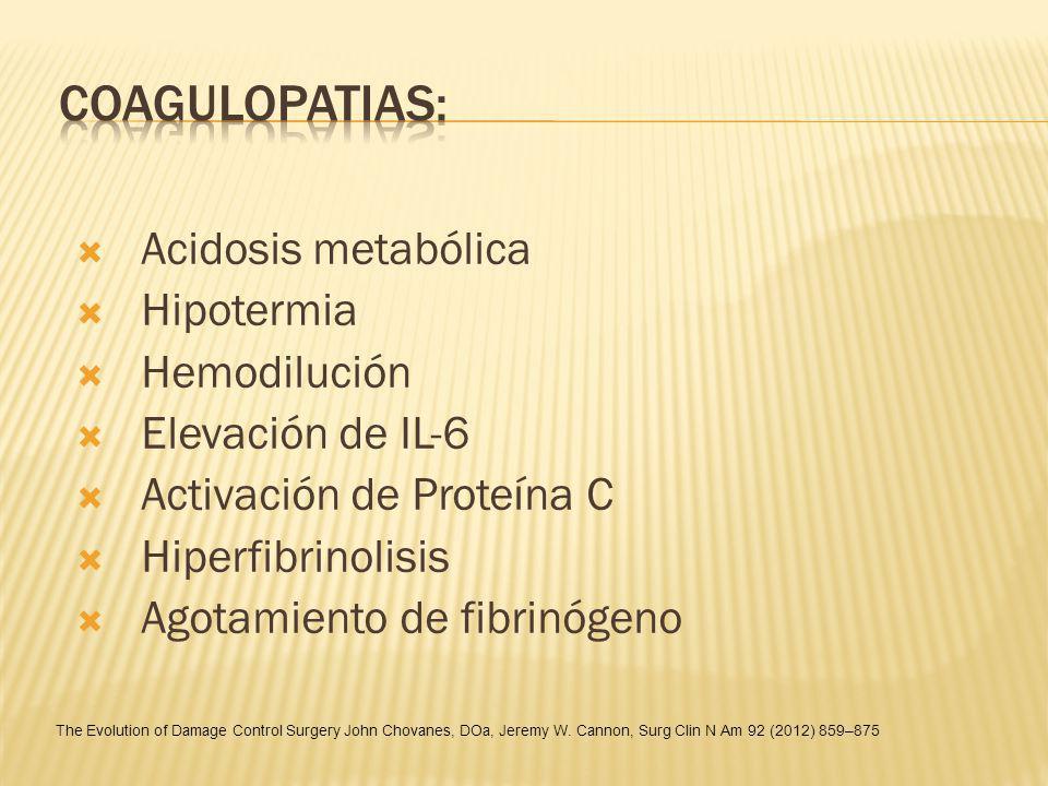 Acidosis metabólica Hipotermia Hemodilución Elevación de IL-6 Activación de Proteína C Hiperfibrinolisis Agotamiento de fibrinógeno The Evolution of D