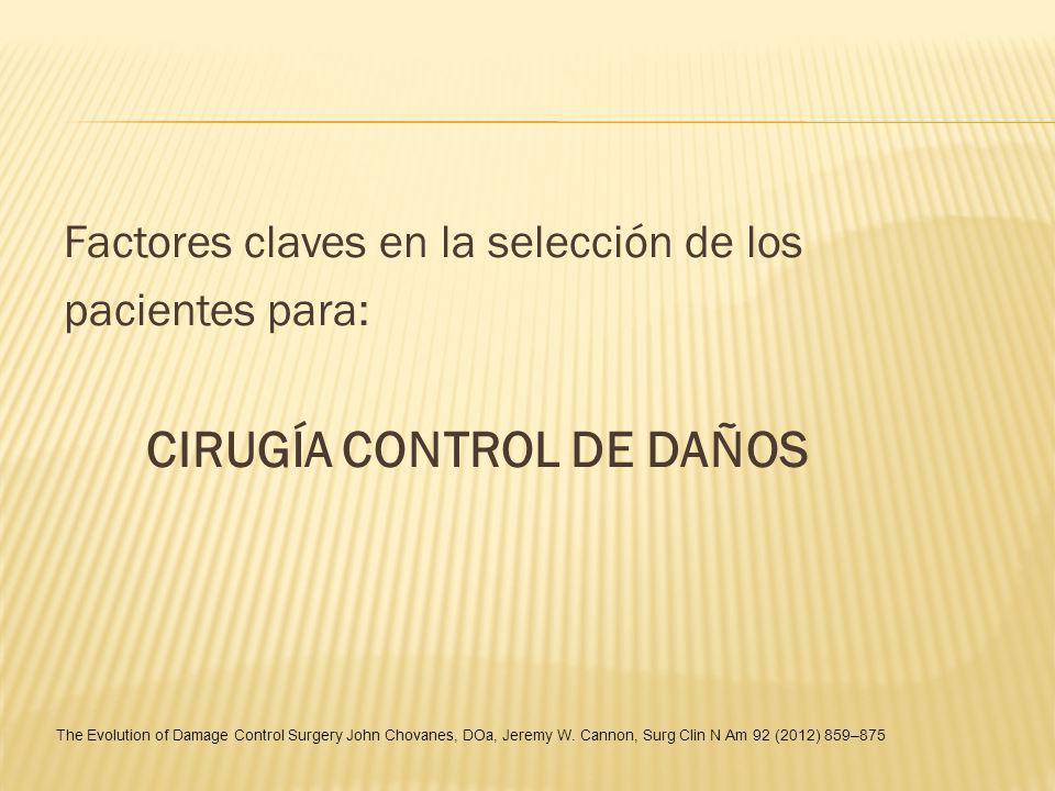 Factores claves en la selección de los pacientes para: CIRUGÍA CONTROL DE DAÑOS The Evolution of Damage Control Surgery John Chovanes, DOa, Jeremy W.