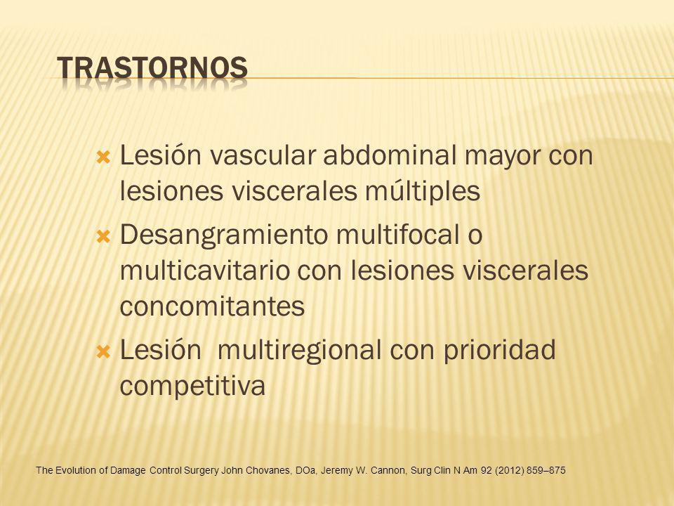 Lesión vascular abdominal mayor con lesiones viscerales múltiples Desangramiento multifocal o multicavitario con lesiones viscerales concomitantes Les