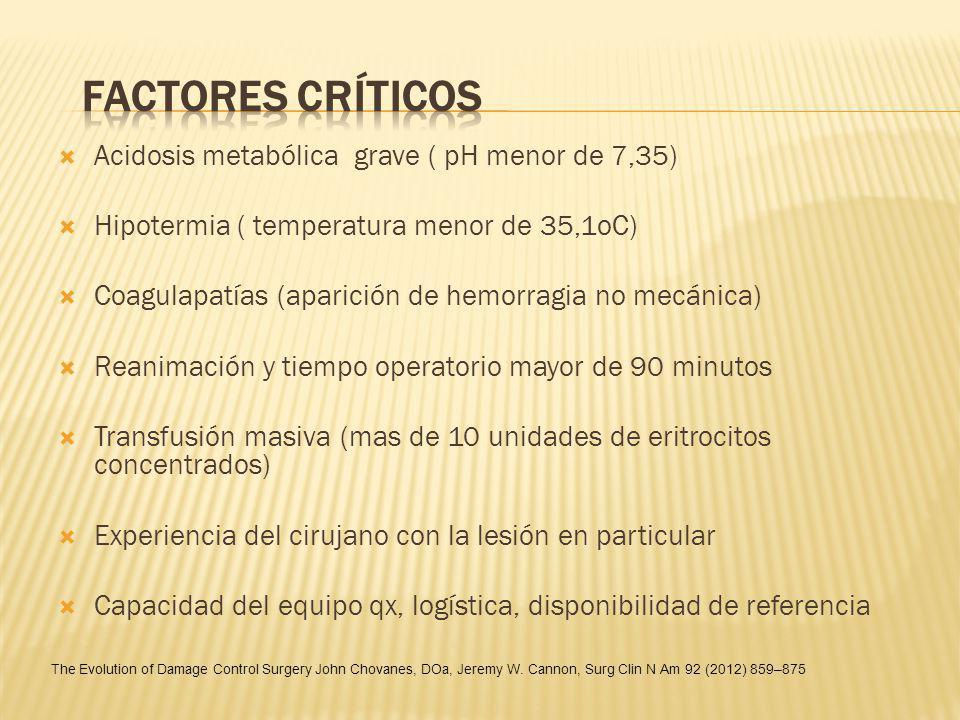 Acidosis metabólica grave ( pH menor de 7,35) Hipotermia ( temperatura menor de 35,1oC) Coagulapatías (aparición de hemorragia no mecánica) Reanimació