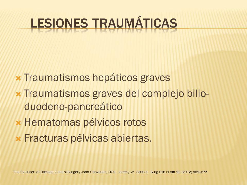 Traumatismos hepáticos graves Traumatismos graves del complejo bilio- duodeno-pancreático Hematomas pélvicos rotos Fracturas pélvicas abiertas. The Ev