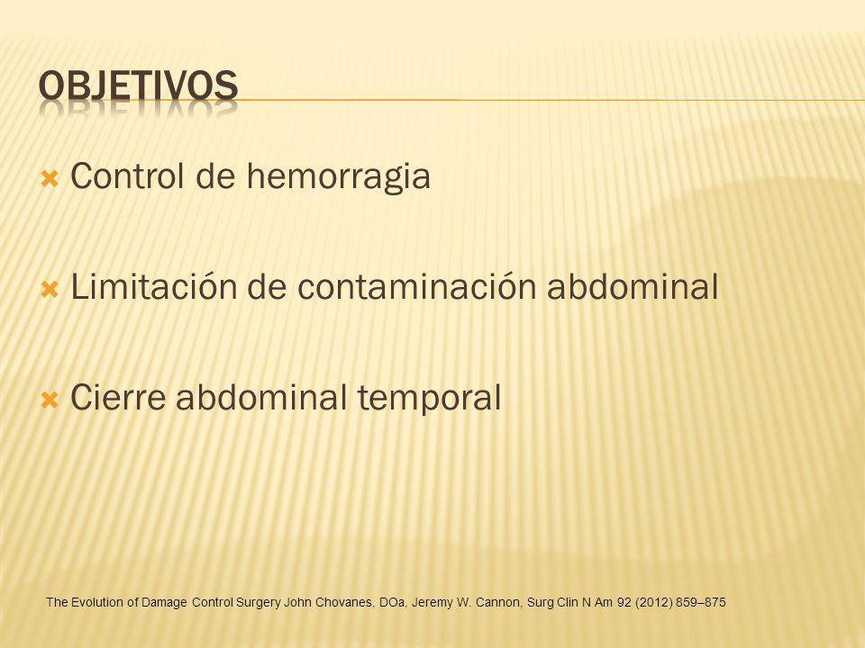 Control de hemorragia Limitación de contaminación abdominal Cierre abdominal temporal The Evolution of Damage Control Surgery John Chovanes, DOa, Jere