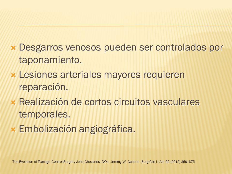 Desgarros venosos pueden ser controlados por taponamiento. Desgarros venosos pueden ser controlados por taponamiento. Lesiones arteriales mayores requ