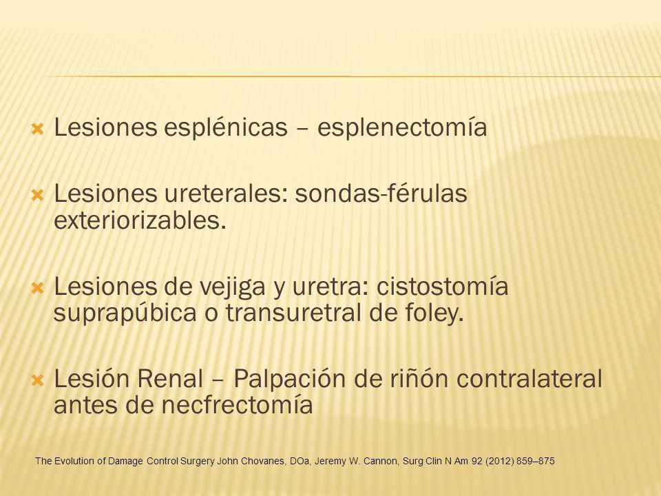 Lesiones esplénicas – esplenectomía Lesiones ureterales: sondas-férulas exteriorizables. Lesiones de vejiga y uretra: cistostomía suprapúbica o transu