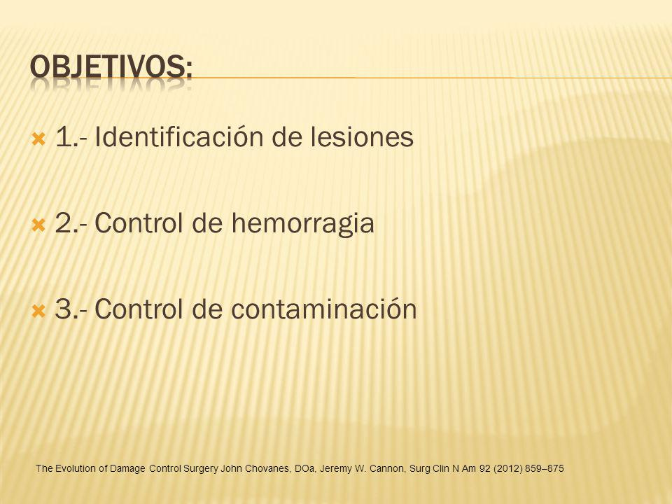 1.- Identificación de lesiones 2.- Control de hemorragia 3.- Control de contaminación The Evolution of Damage Control Surgery John Chovanes, DOa, Jere