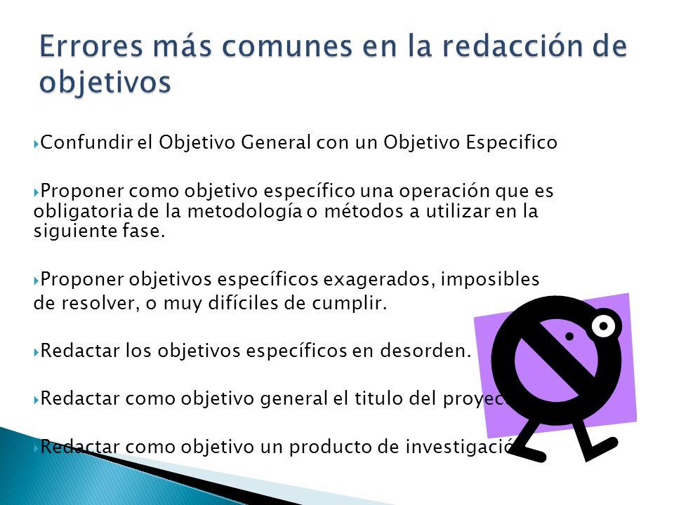 Confundir el Objetivo General con un Objetivo Especifico Proponer como objetivo específico una operación que es obligatoria de la metodología o método