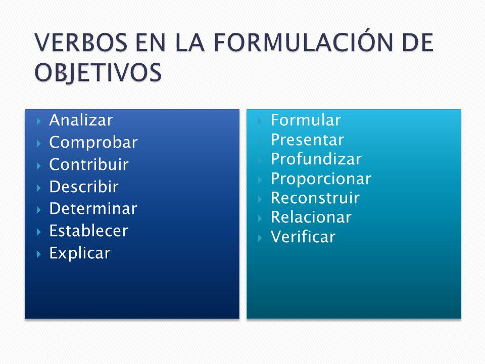 Analizar Comprobar Contribuir Describir Determinar Establecer Explicar Analizar Comprobar Contribuir Describir Determinar Establecer Explicar Formular