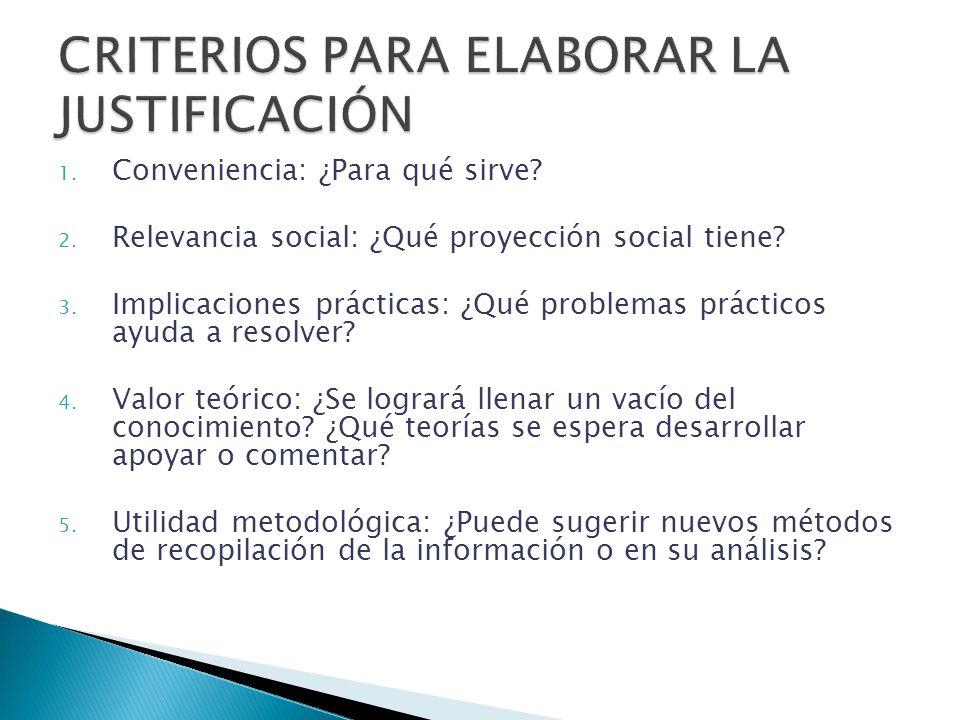 1. Conveniencia: ¿Para qué sirve? 2. Relevancia social: ¿Qué proyección social tiene? 3. Implicaciones prácticas: ¿Qué problemas prácticos ayuda a res