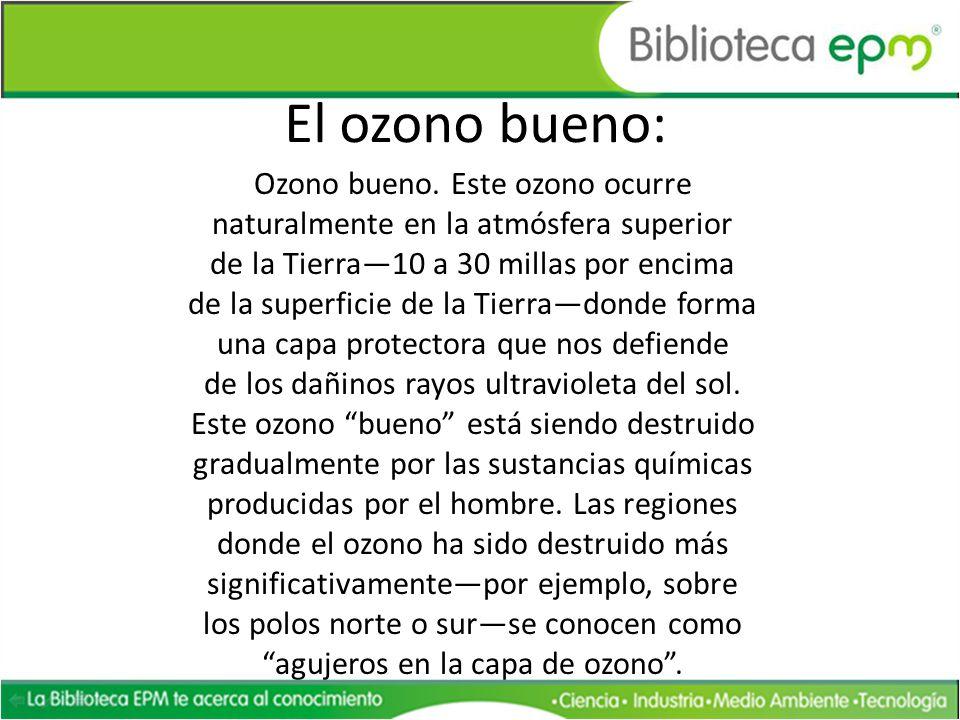 El ozono bueno: Ozono bueno. Este ozono ocurre naturalmente en la atmósfera superior de la Tierra10 a 30 millas por encima de la superficie de la Tier