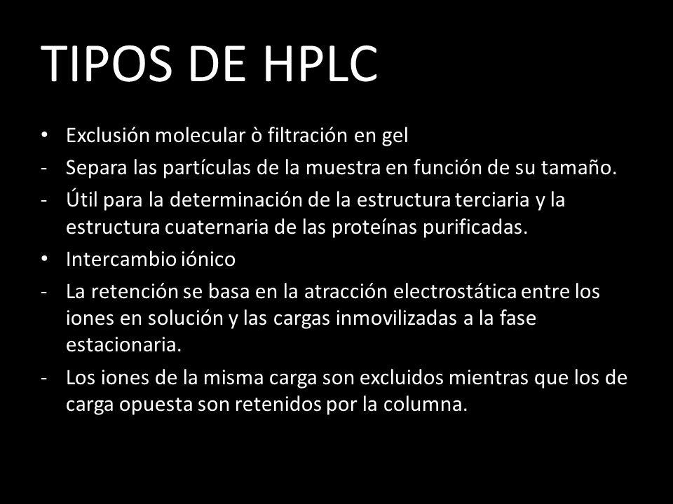 TIPOS DE HPLC Exclusión molecular ò filtración en gel -Separa las partículas de la muestra en función de su tamaño.