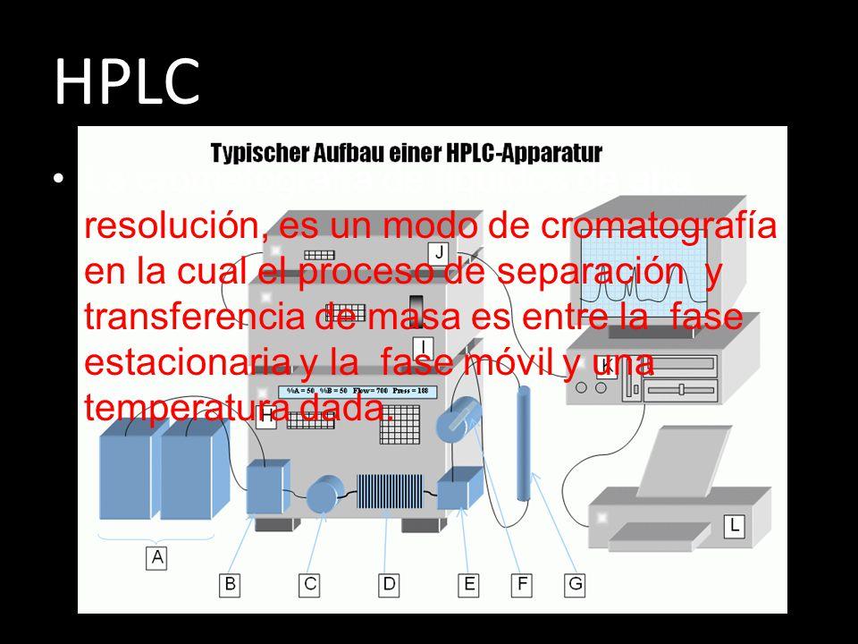 HPLC La cromatografía de líquidos de alta resolución, es un modo de cromatografía en la cual el proceso de separación y transferencia de masa es entre la fase estacionaria y la fase móvil y una temperatura dada.