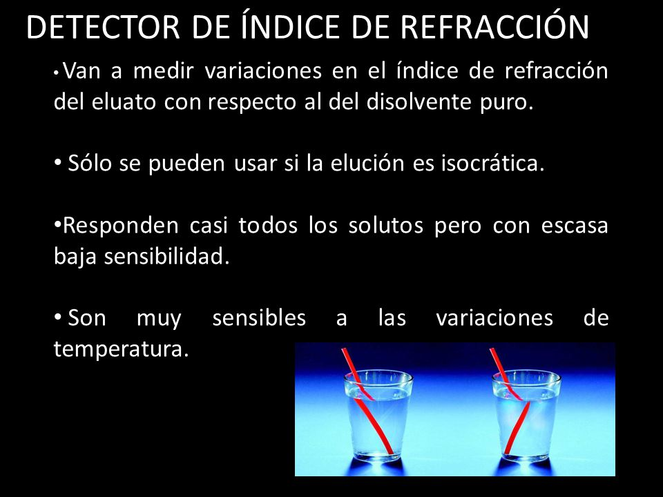 DETECTOR DE ÍNDICE DE REFRACCIÓN Van a medir variaciones en el índice de refracción del eluato con respecto al del disolvente puro.