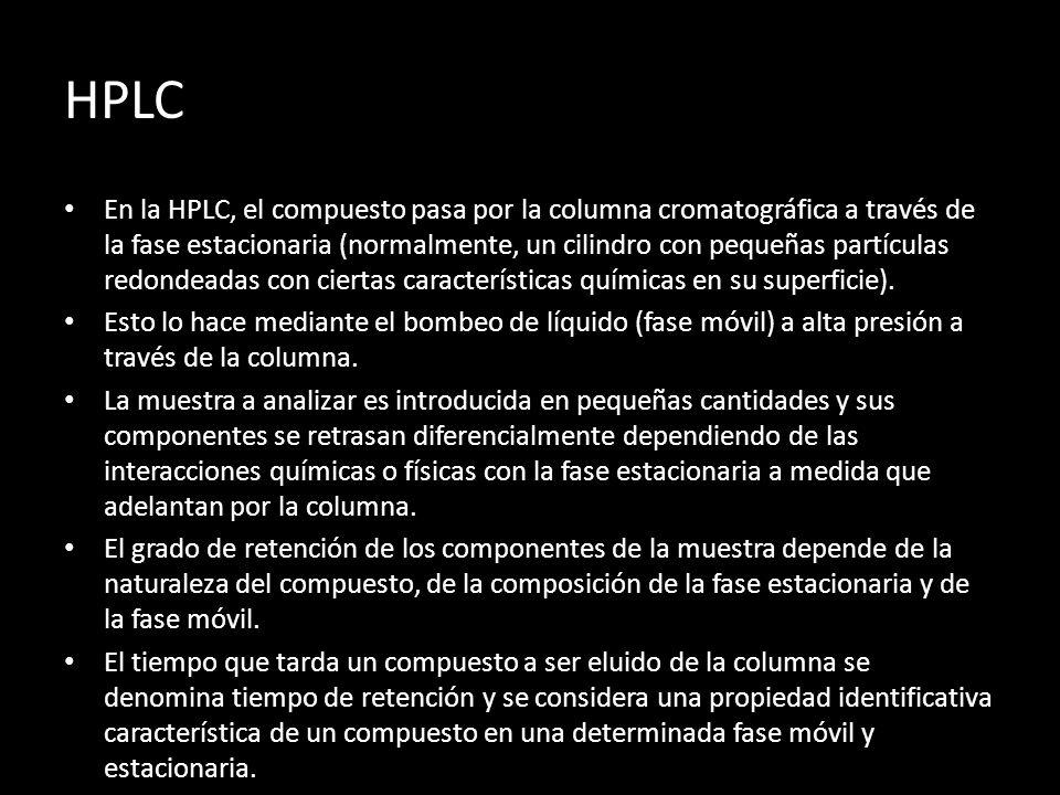 HPLC En la HPLC, el compuesto pasa por la columna cromatográfica a través de la fase estacionaria (normalmente, un cilindro con pequeñas partículas redondeadas con ciertas características químicas en su superficie).