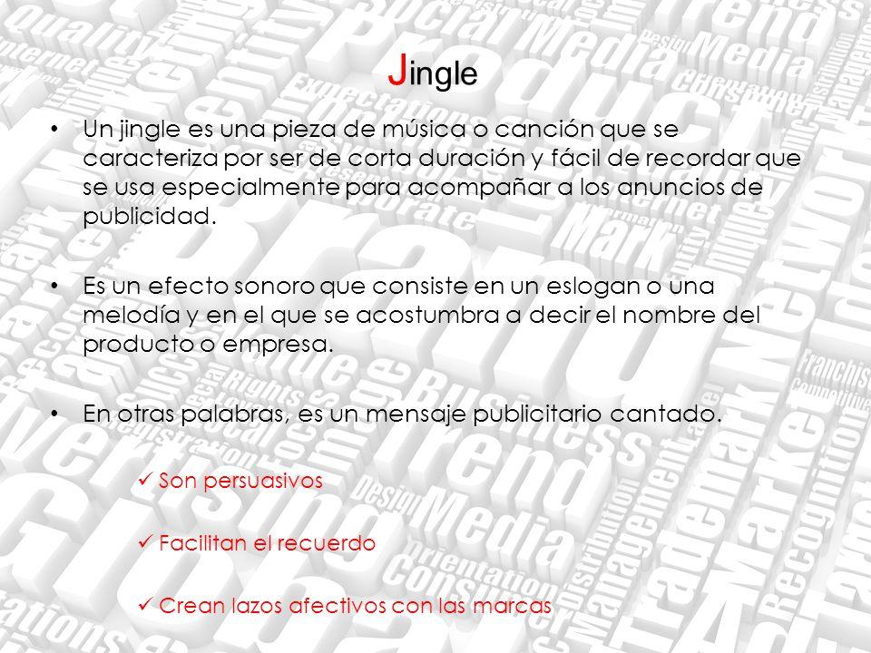 J ingle Un jingle es una pieza de música o canción que se caracteriza por ser de corta duración y fácil de recordar que se usa especialmente para acom